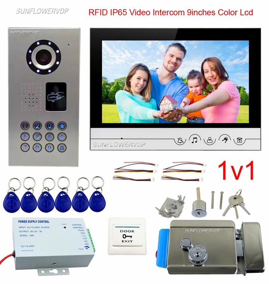 Rfid Call Panel IP65 Waterproof Door Phone Intercom 9 Color Monitor Video Doorbell With Electronic Door Lock Touch Buttons Kit 7 video door phone doorbell intercom system touch panel door lock rfid keyfobs 1v3
