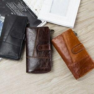 Image 5 - Contacts Brand Designer cartera de mano de cuero de vaca 100% auténtico para hombre, monedero, tarjetero, Vintage, con bolsillo para monedas