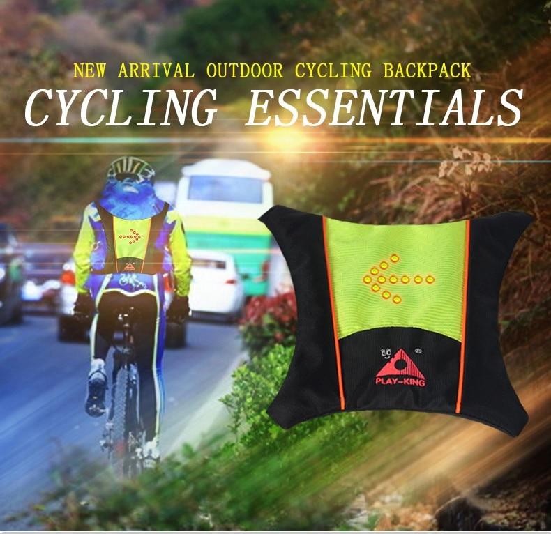 LED 회전 신호 경고 조끼 가방 야외 남성 여성 산악 자전거 운송 통기성 원격 제어 야간 자전거 타기