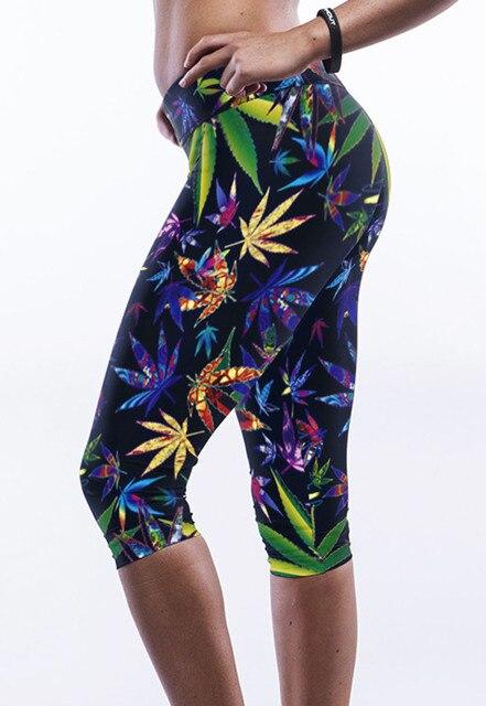 Ailunsnika Colorido Hojas de Arce de Moda Imprimir Pantalones LC79752 Leggings Mujeres Legging Mujeres de la Aptitud Leggins Para Las Mujeres
