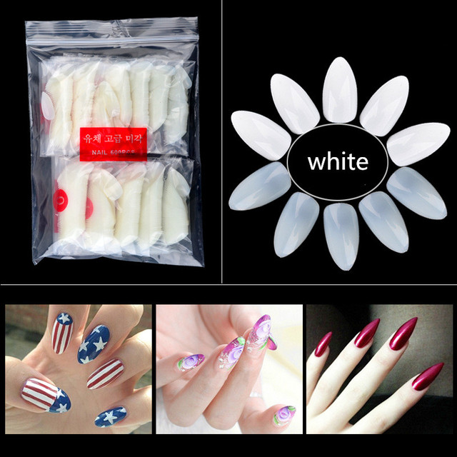 600pcspack white nail tips stiletto pointy round head oval nails 600pcspack white nail tips stiletto pointy round head oval nails acrylic false nail art prinsesfo Image collections