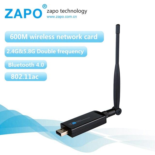 Zapo marca 600 mbps bluetooth 4.0 usb wifi placa de rede sem fio 802.11 ac/b/g/n lan adaptador com antena giratória 2.4g-5g dual