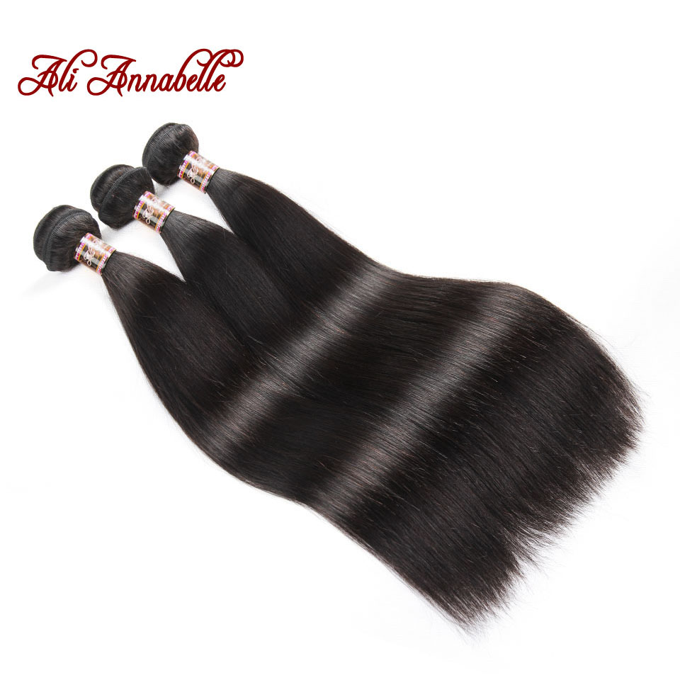 ALI ANNABELLE HAIR Indian Straight Hair Weave 100 Human Hair Bundles 10 28 Inch Natural Color