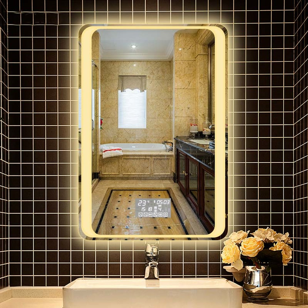 Home Improvement Bathroom Hardware Gisha Smart Mirror Led Bathroom Mirror Wall Bathroom Mirror Bathroom Toilet Anti-fog Mirror With Touch Screen Bluetooth G8203