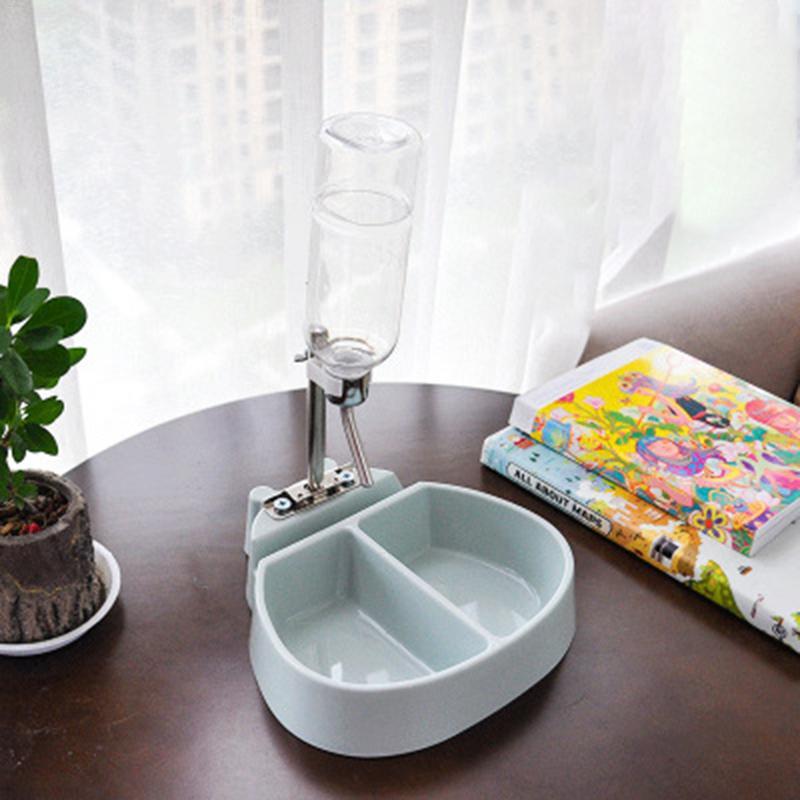 Двойные миски для домашних животных с бутылкой для воды, интегрированная Подвеска для корма, контейнер для воды для кошек и собак - Цвет: Light Green