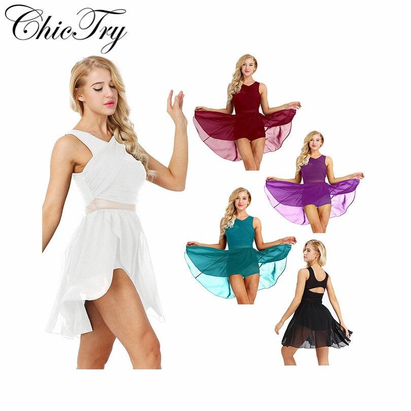 Women Adults Girls Ballet Dancing Dresses Sleeveless Cut Out Asymmetric Chiffon Stretchy Ballet Dance Gymnastics Leotard Dress