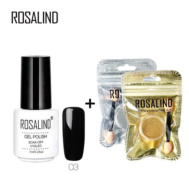 ROSALIND 3 PCS Gold/Sliver Mirror Power Glitter Set With Black gel nail polish Nail Shine powder Decorations for nail beauty