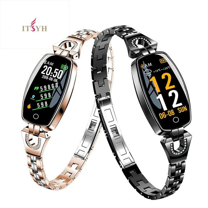 Freqüência cardíaca pressão arterial ITSYH Inteligente pulseira para mulheres Moda Pulseira IP67 ZH-2026 H8 Smartwatch à prova d' água