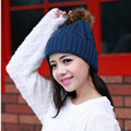 2016 Winter Hat Female Solid Fur Pompon Hot Sale Gorro Brand High Quality Casual Knitted Warm Winter Hats Skullies Beanies