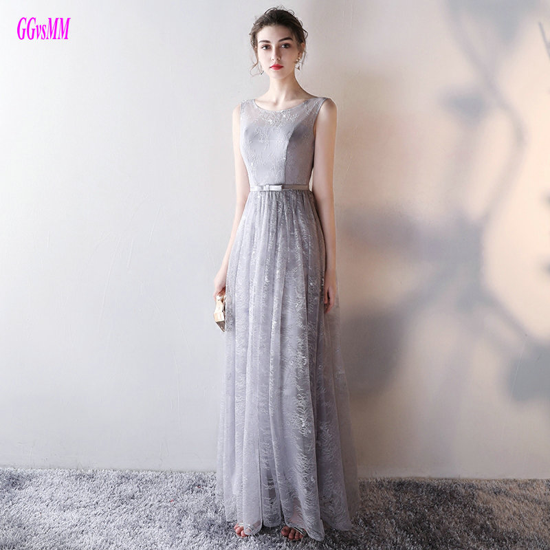 Unique Silver Lace Party Evening Dresses Long 2017 Sexy Evening Gowns O-Neck Lace-Up A-Line Lady Prom Formal Dress Real Photos