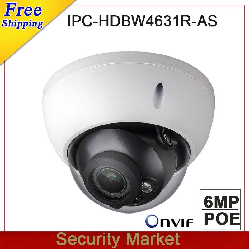 Original dahua IPC HDBW4631R AS 6MP Dome IP IK10 IP67 IR 30M built in SD card