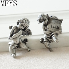 Unique Antique Cabinet Knobs /Drawer Silver The Angel Design Art / Dresser Drawer Pull Handles Pulls Handle
