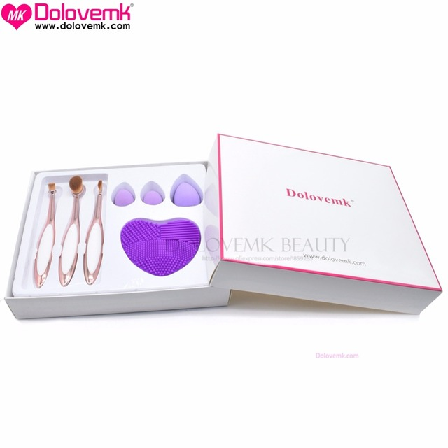 Dolovemk Elite Beleza Fumaça Oval Maquiagem Conjunto Escova Da Sombra/Sobrancelha Kit + Látex-livre Make up Esponja + Silicone Almofada de Limpeza
