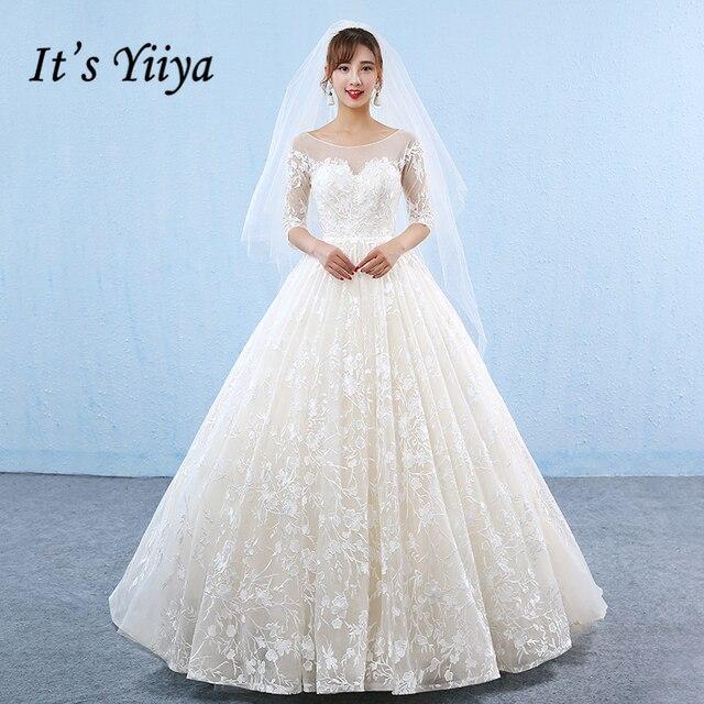 It S Yiiya 2017 New Off White Half Sleeve O Neck Wedding Dresses Flower Pattern Emboridery