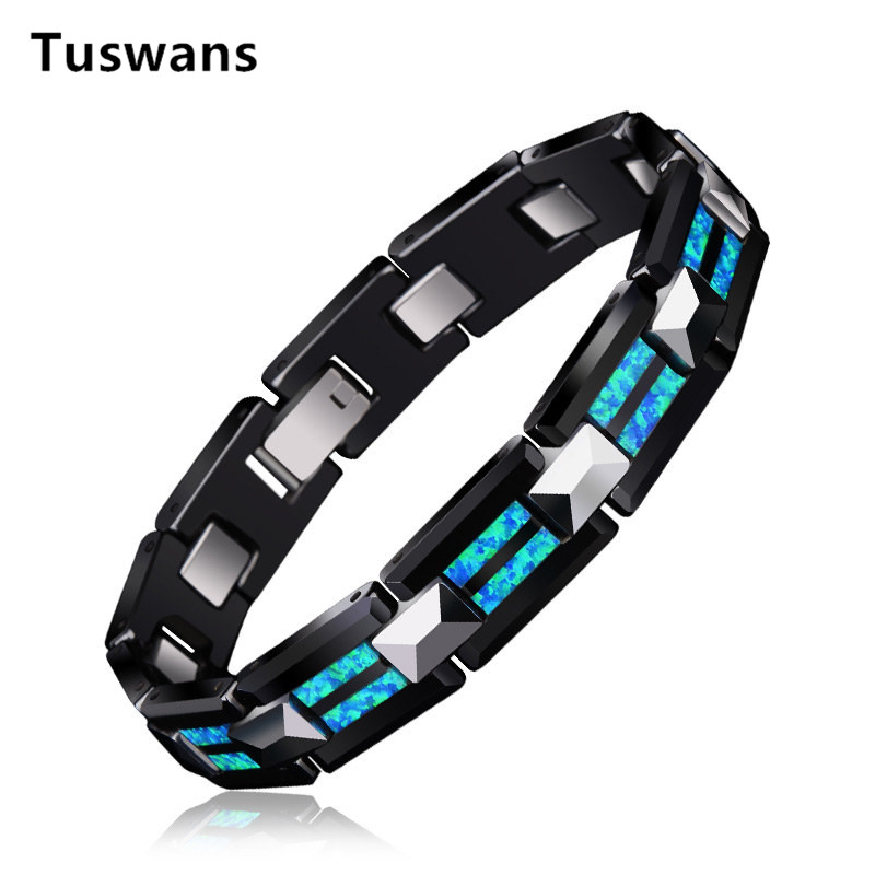 2018 Luxury Natural Opal Tungsten Steel Black Ceramic Bracelet Bangle For Women Men Fashion Charms Bracelet homme femme Jewelry-in Charm Bracelets from Jewelry & Accessories    1