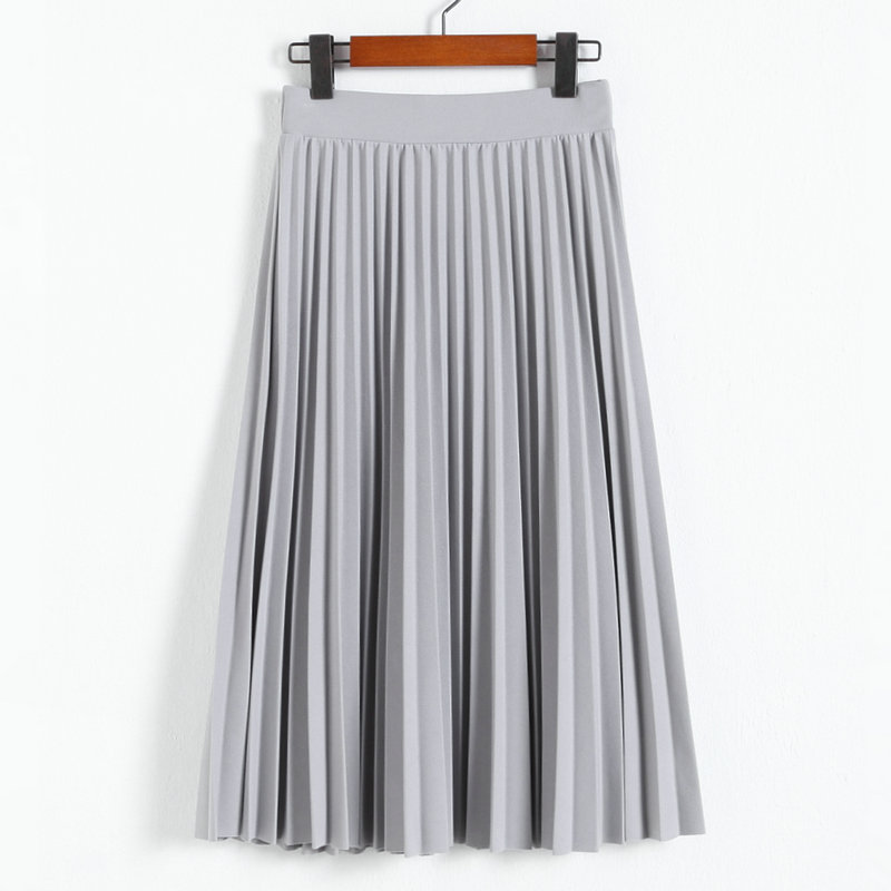 Spring and Autumn New Fashion Women s High Waist Pleated Solid Color Half Length Elastic Skirt