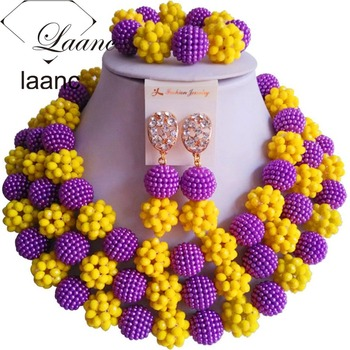 African Purple and Yellow Beads Jewelry Sets 2017 Nigerian Wedding AL078