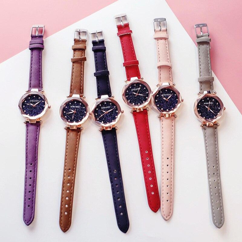 ladies watch for starry sky watch luxury quartz watch women fashion casual leather rhinestone female clock zegarek damski 2018 6