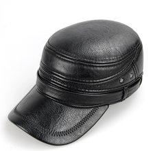 Cowskin cuero genuino gorra de béisbol hombres sombrero con orejeras gorra  de piel de vaca cuero 26d50e4f1bc