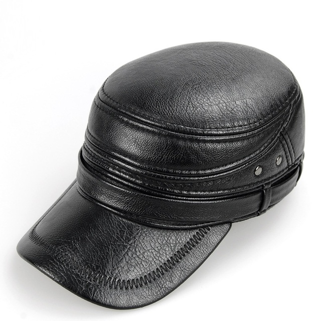Cowskin cuero genuino gorra de béisbol hombres sombrero con orejeras gorra  de piel de vaca cuero b900388ec61