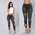 2017 Jeans WomanHigh Waist Ripped Women Jeans Hole Sexy Long Jeans Femme Pencil Pants Slim Ripped Jeans Ripped Jeans For Women