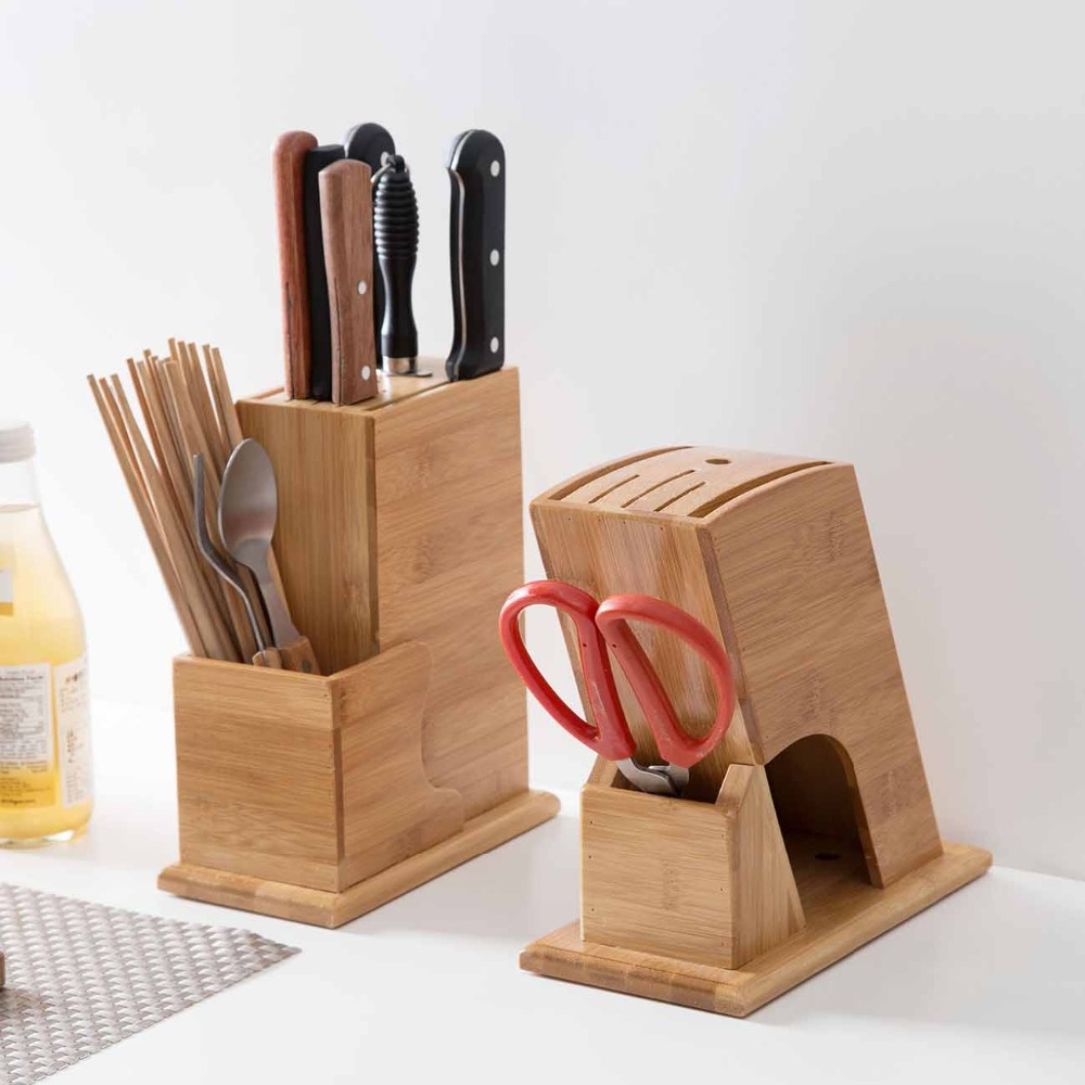Wood Kitchen Knife Holder Knives Blocks Scissors Organizer Bamboo Storage Rack Kitchen Storage Accessories