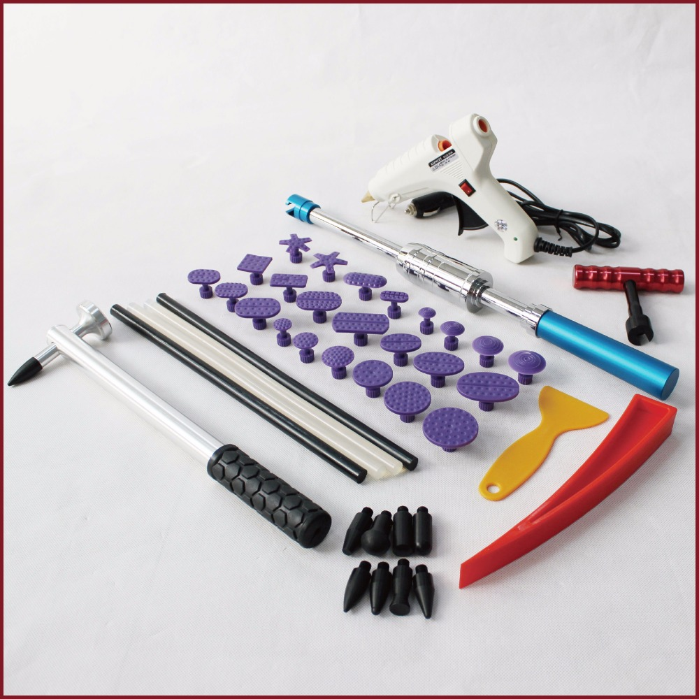 Strumenti kit dent puller pdr paintless kit di riparazione fix di rimozione pops laboratorio di set di rimozione del corpo di automobile cuneo t colla tabs auto tirando bar