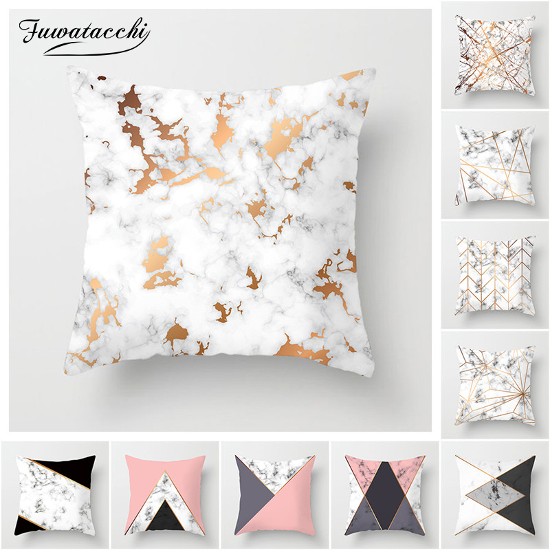Fuwatacchi Marble Texture Cushion Cover Geometric Printed Black White Pillow Case Sofa Throw Decorative Pillow Cover Sofa Chair in Cushion Cover from Home Garden