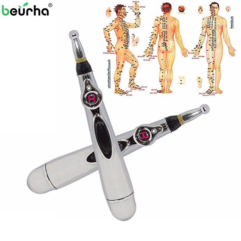 Beurha Neue Elektronische Akupunktur Stift Schmerzlinderung Therapie Stift Sicher Meridian Energy Heilen Massage Körper Kopf Hals Bein Massageadores