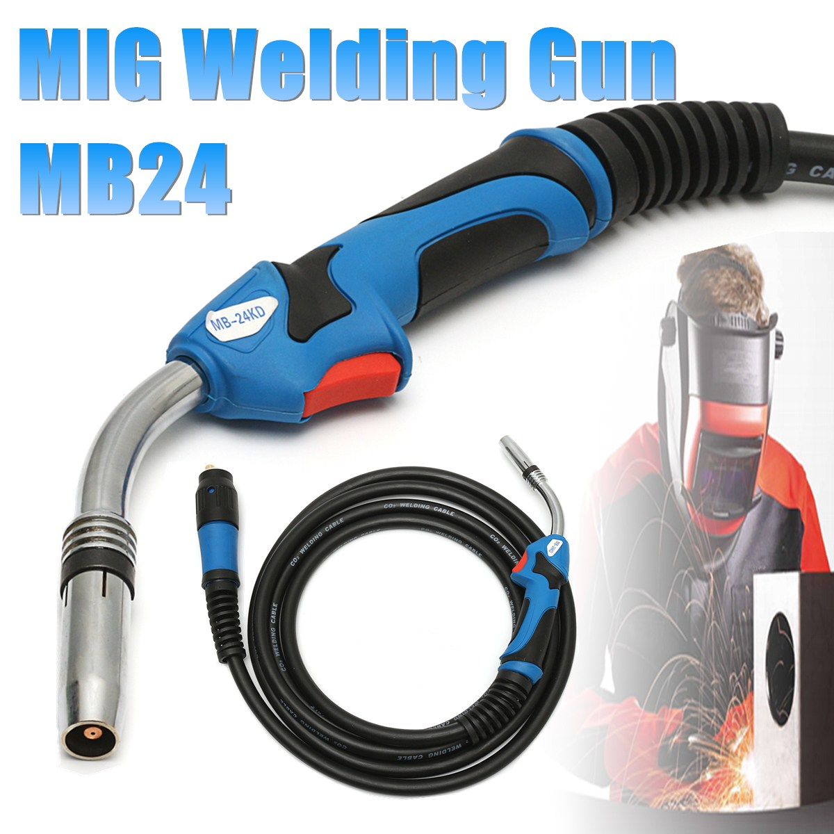 MB24 MIG Welding Gun-Torch  with 5 Meter Length Lead Electric Welder Torch Stinger Parts professional welding wire feeder 24v wire feed assembly 0 8 1 0mm 03 04 detault wire feeder mig mag welding machine ssj 18