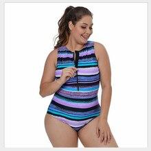 Для женщин Цельный купальник в полоску для похудения с молнией Большой размер без рукавов для занятий серфингом спортивные купальный костюм S M L XL XXL XXXL