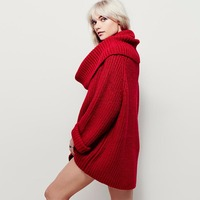 2017 Autumn European And American Sweater Loose Scarf Collar Long Women Sweaters And Pullover Long Sleeve