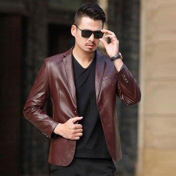 2019 Spring and Autumn Fashion New Men's Casual Boutique Business Leather Suit / Men's Pu Blazer Coat Jacket