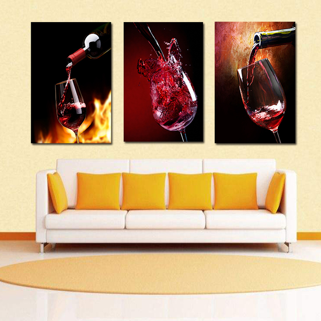 Three picture Combination Wine Glass Oil poster Painting Printed ...