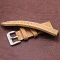 ZLIMSN 24mm Watch Band Strap Men Grosso Manual de Couro Genuíno Pulseira Pulseira de Metal Pin Fivela de Aço Inoxidável