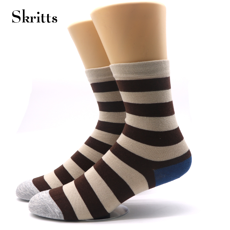 1 Pair Skritts Cotton Socks for Men Chromatic Striped Short Sock Warm Autumn Winter Socks Men Casual Business Dress Sock Funny