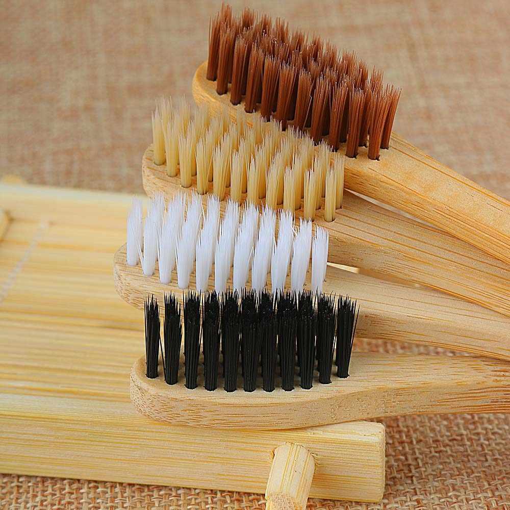 1 unidad útil cepillo de dientes duradero ambiental cuidado de salud bucal Personal Teethbrush suave medio Eco fibra de bambú cepillos de dientes
