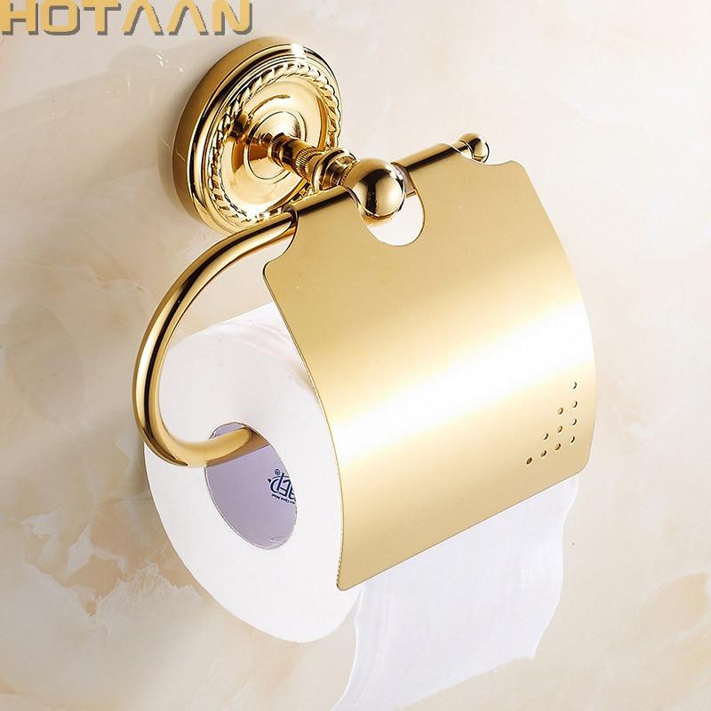Livraison Gratuite, D'or Finition En Laiton Massif Porte Papier Toilette Salle De Bains Classique Accessoreis Rouleau De Papier Hygiénique Porte-Papier 12292G