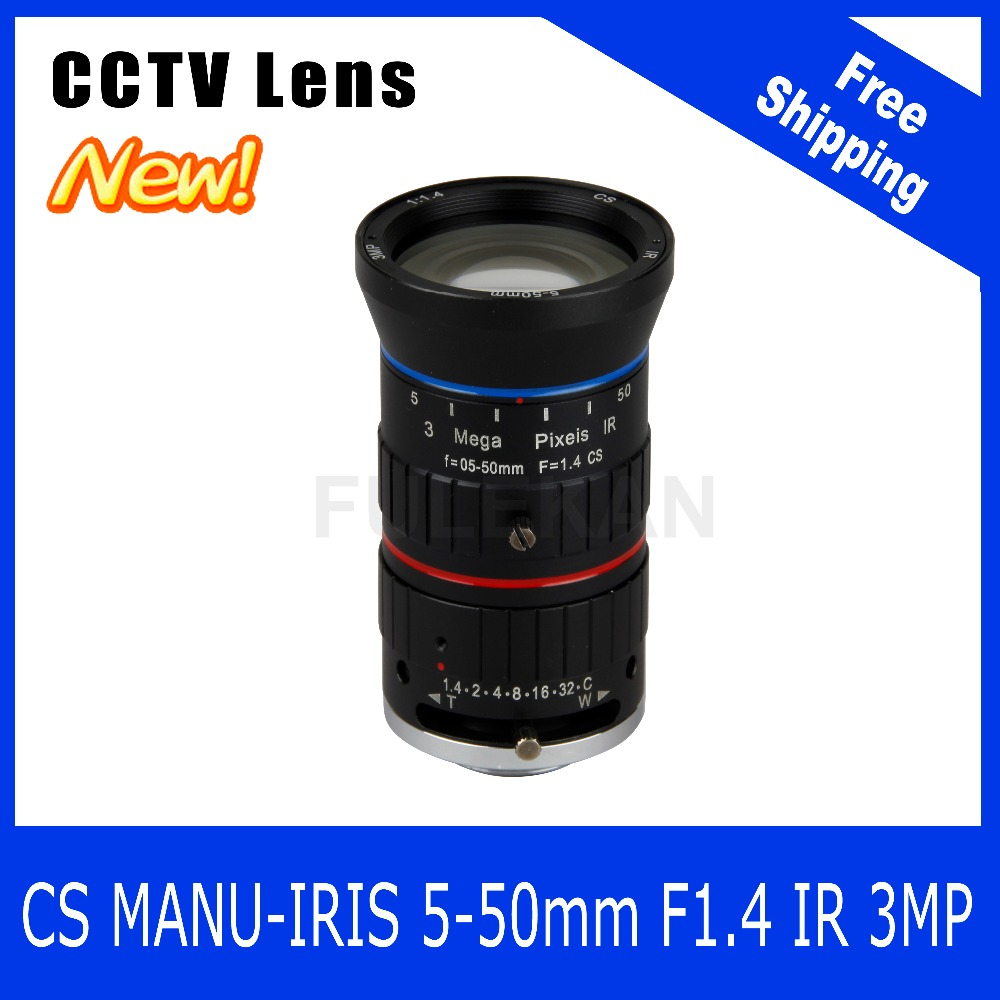 3Megapixel Varifocal CCTV Lens 5-50mm  CS Mount Manual IRIS For 720P/1080P Box Camera/IP Camera Free Shipping 8megapixel varifocal cctv 4k lens 1 1 8 inch 3 6 10mm cs mount dc iris for sony imx178 imx274 box camera 4k camera free shipping