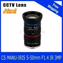 3Megapixel Varifocal CCTV Lens 5-50mm CS Mount Manual IRIS For 720P/1080P Box Camera/IP Camera Free Shipping