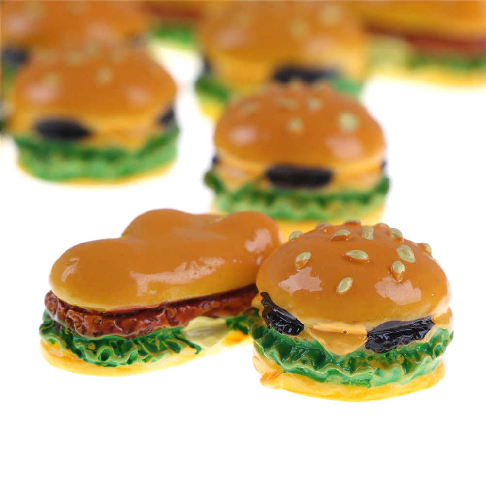 2 PCS Hamburger Cute Miniature Food Figurine Anime Action Figure Toys DIY Accessories Home Garden Decor 2 styles Hamburgers