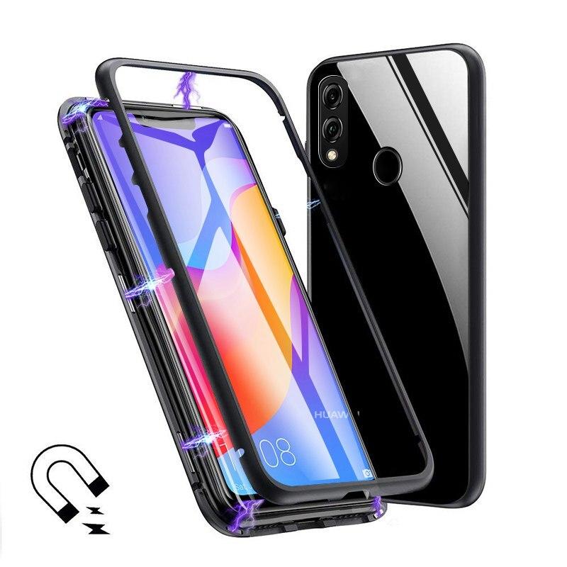 Para Huawei Mate 20 Pro 20X P20 Pro P10 Plus magnética de Metal de vidrio claro funda para Huawei Honor 10 v10 8X Max Y9 2019 Nova 3i