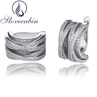 Slovecabin Wholesale Authentic 925 Sterling Silver Stack Hoop Earrings With Clear CZ For Women Vintage Fashion Jewelry