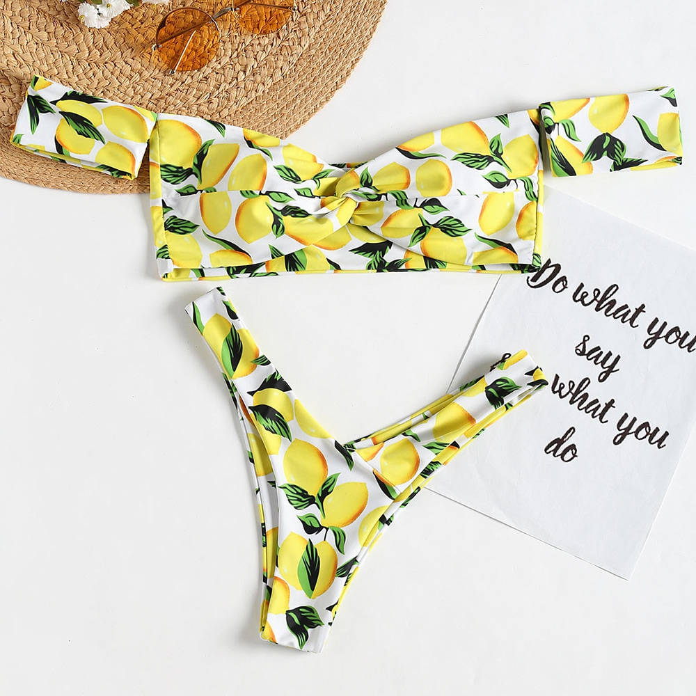 BiLvLanLv Women Sexy Bandeau Bikini Lemon Pirnited Off Shoulder Twist Biquini Swimsuit Thong Bathing Suit Summer Beach Wear cute off the shoulder lemon dress for women