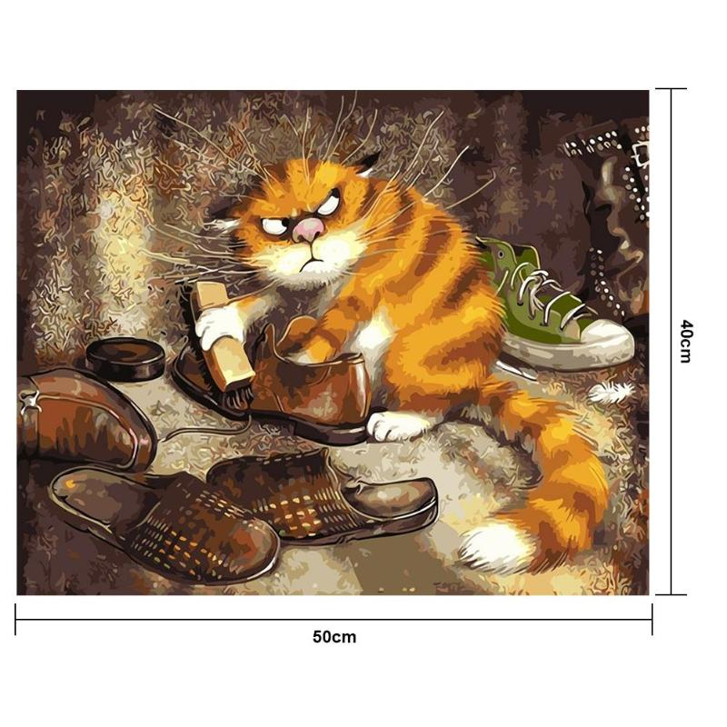 3D DIY Cat Pictures Painting By Numbers of Animal Handwork Canvas Oil Painting Home Decor Abstract Frameless For Living Room