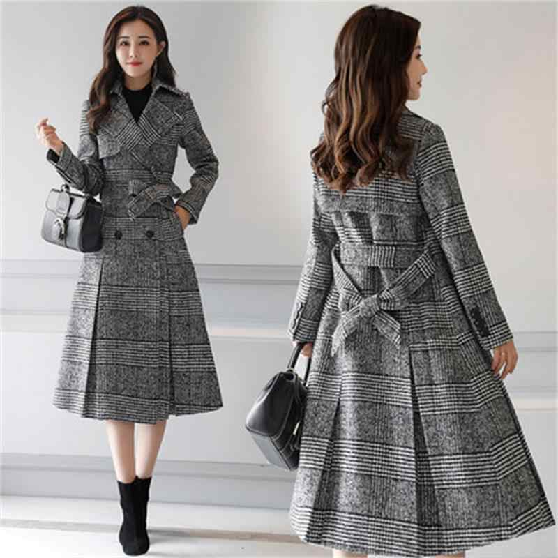 Tartan wool coat female long section Korean 2018 new autumn and winter models Slim waist check woolen coat