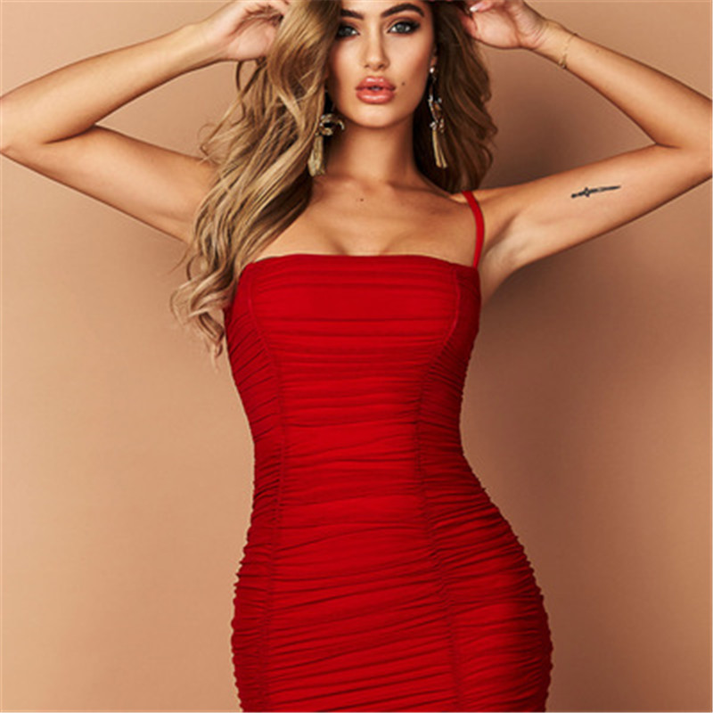 Fantoye Two Layers Mesh Ruched Dress Women Autumn Summer Strapless Elegant Christmas Sexy Club Party Ladies Dresses Vestidos