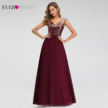 Ever Pretty Burgundy Sparkle Prom Dresses Long A-Line V-Neck