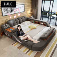 TB024 Europe and America Hemp fabric soft bed frame bedroom furniture with speaker massage sofa storage box multifunction bed