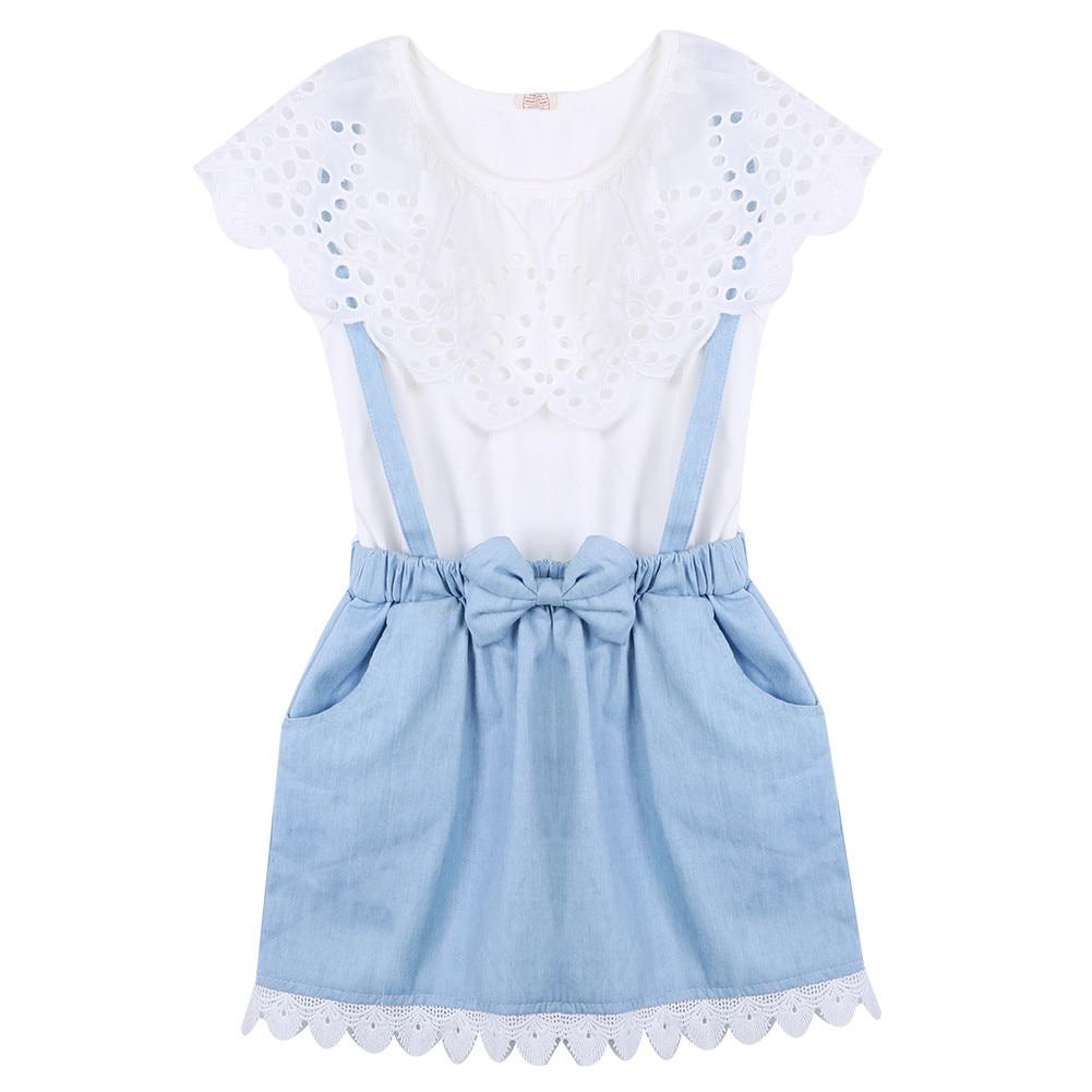 New Fashion Girls Cowboy Sleeveless Bow Cotton Dress Baby -3134